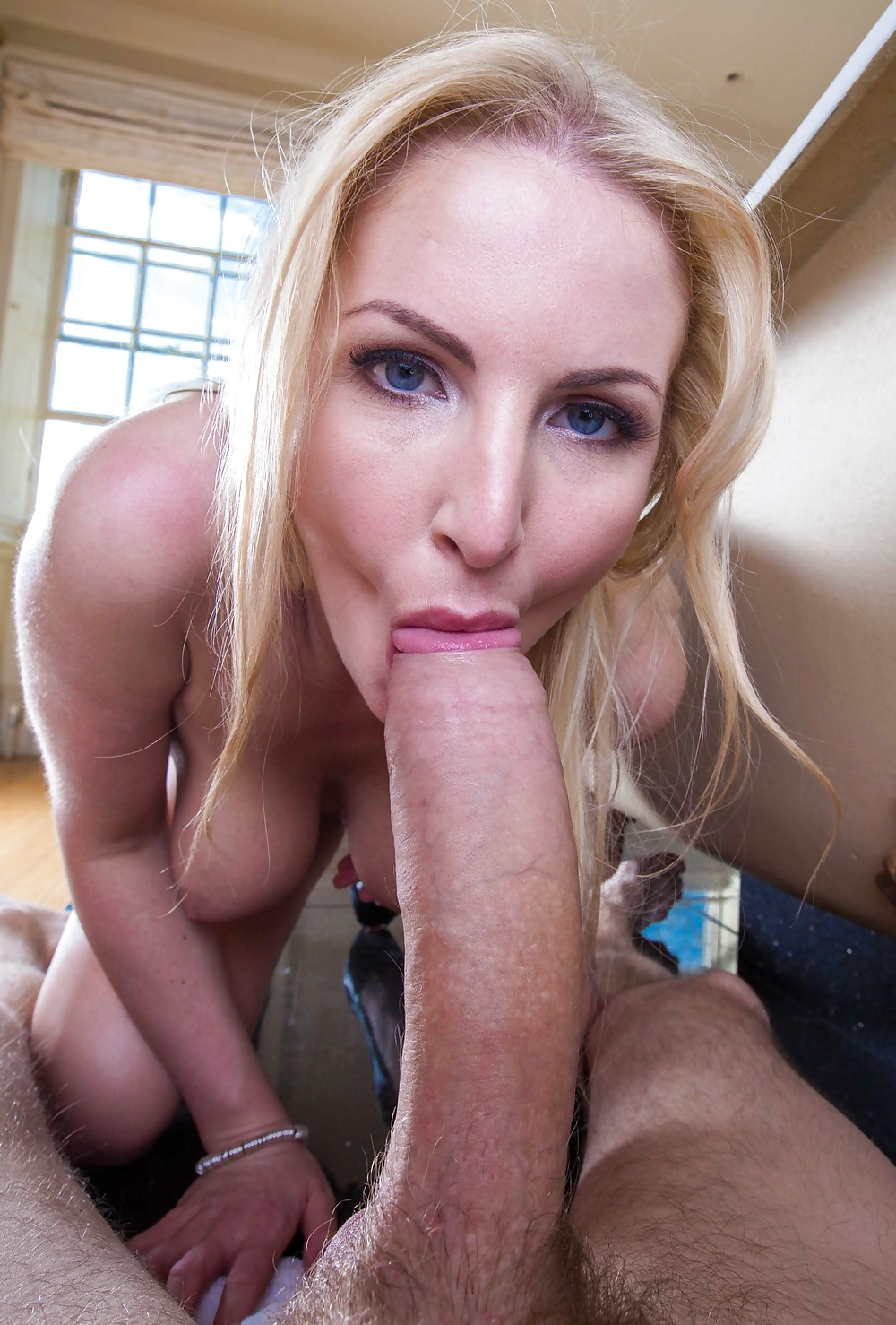 image Blonde sucks a big fat cock dry and swallows