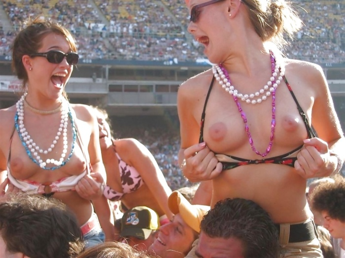 2 College Chick Flashing Small Tits