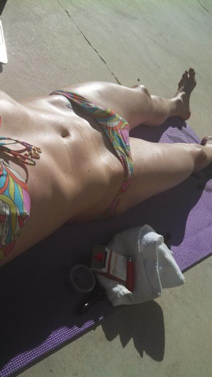 Stoned sissy sunbathing