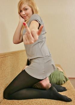 Blonde Princess Facesitting Giving Middle Finger