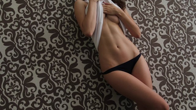 Gorgeous brunette teasing with hot body