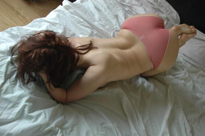Thin pink panties and a big fat ass