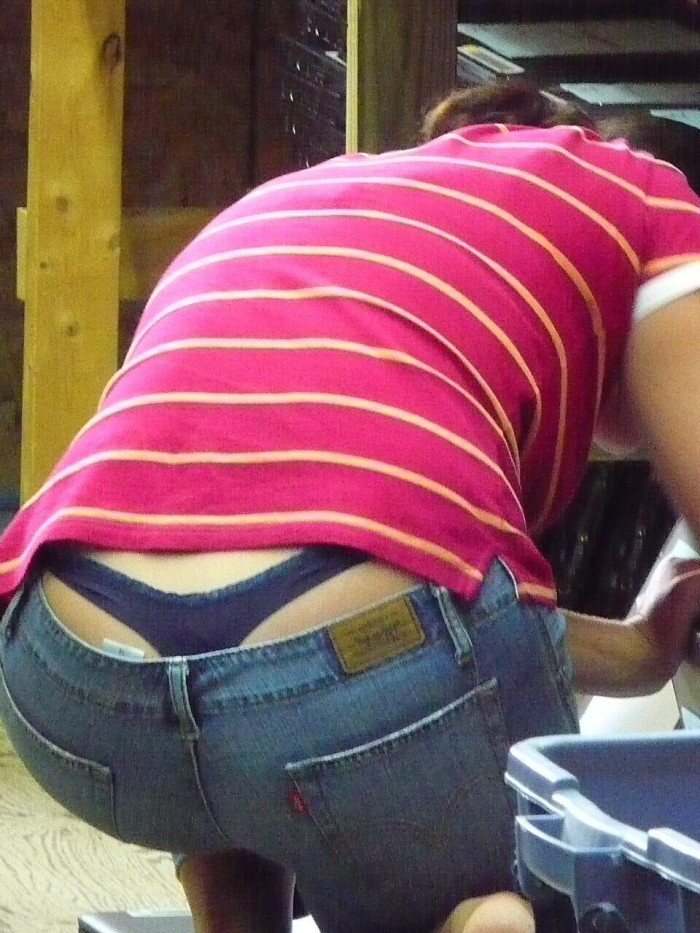 Whaletail with a blue thong in jeans