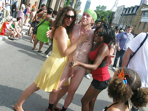 Nude guy teased out in public