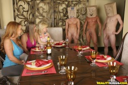 Three housewives humiliating and teasing horny guys