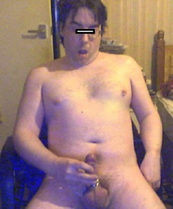 "Hard but still small. ""Censorship"" laughably minimal, lol :) Wank it, fat boy!"