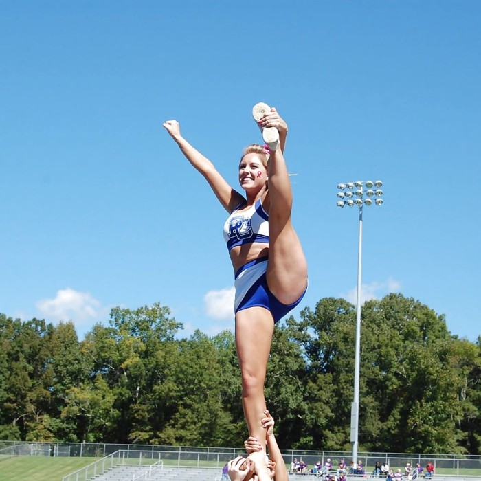 Cheerleaders love flashing their hot pussy for a good cause