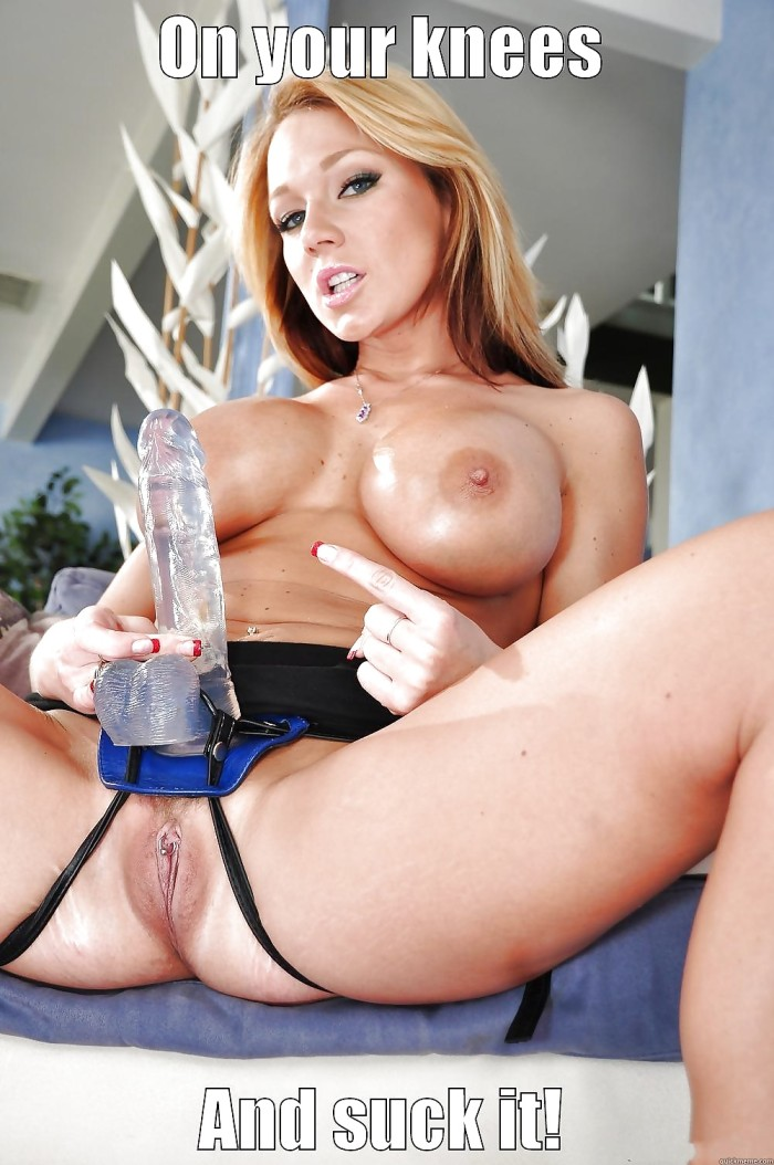 Guy wearing dildo cuckold