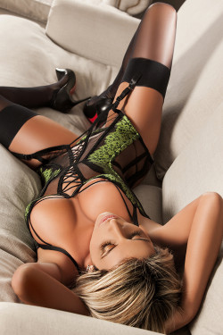 Gorgeous blonde in lingerie, thigh highs and hot heels