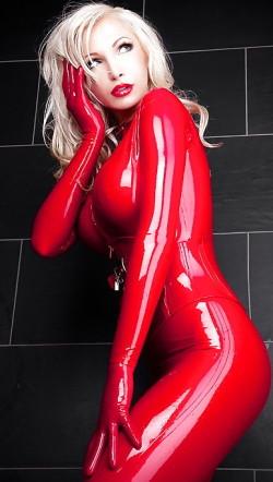 Blonde goddess in skin tight red latex