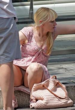 Cute blonde upskirt