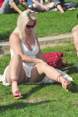 Busty blonde wife upskirt at a concert