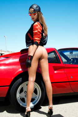 Hot retro ass and a hot vintage Ferrari