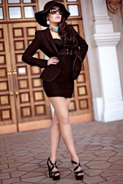 Glam Goddess in sexy black heels