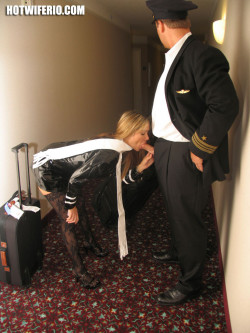 Slutty Wife Sucks an Airline Pilot