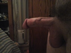 Fully erect from the side