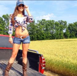 Sexy Country Girl on a Pickup Truck