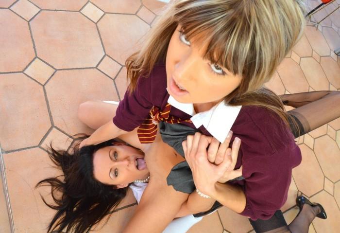 Lesbian dominates straight girl