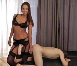 Mistress Has Him Right by the Sack!