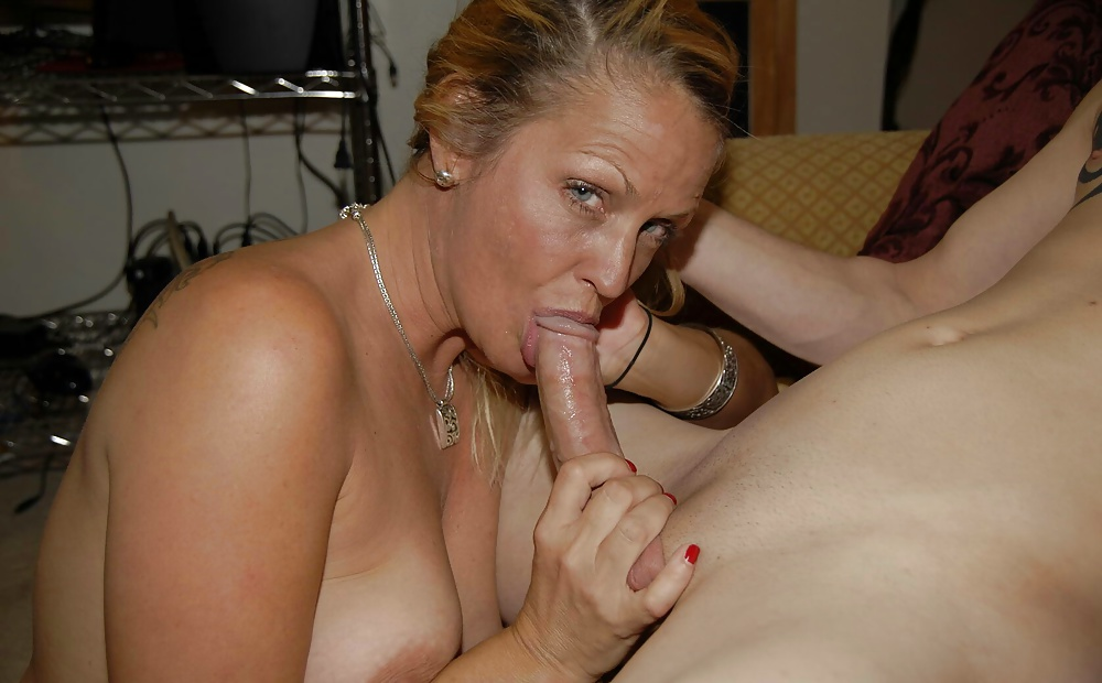 Cougar sucks cock like her life depended on it 4