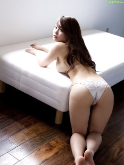 Gorgeous Asian Girl Topless in White Satin Panties