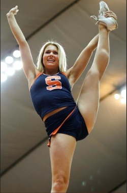 Hot blonde cheerleader spreading her legs to the max