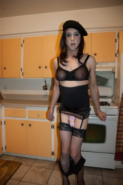 sissy heather in her chastity and sissy lingerie