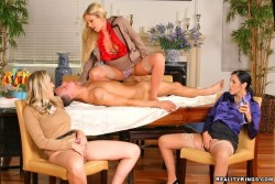 Trophy Wives Taking Turns on a Cock