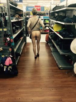 Flashing her tight ass at Walmart