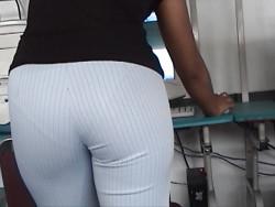 Secretary Showing Sexy VPL at Work