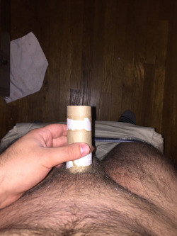 Guy with Short Thin Penis Attempts the TP Roll Test