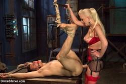 Domina Breaks Slave's Anal Cherry with Strapon Dildo