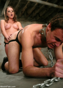 Topless Mistress Chains Her Slave and Strapon Bangs His Ass