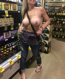 Flashing hubby while buying beer at Walmart