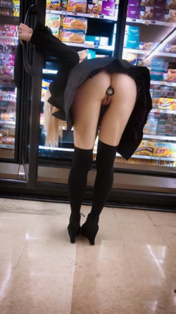 Jeweled butt plug and no panties in Walmart