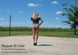 Raquel St.Clair Chicago Area Transvestite Slut on Display in Cheeky Micro-short Daisy Dukes (alb ...