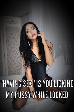 Chastity Caption: Sex is Licking Pussy with Your Cock Locked