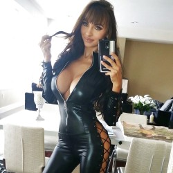 Leather Fetish Domina's Selfie with Big Cleavage Showing