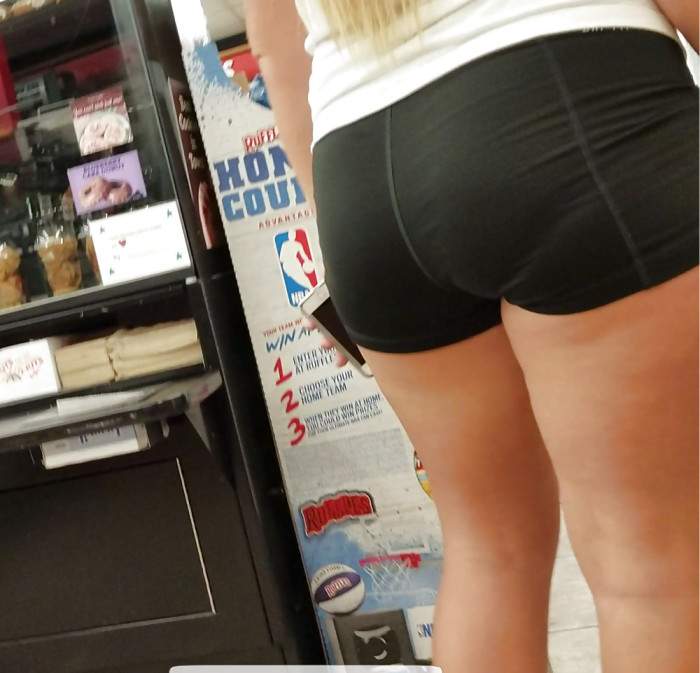 Tight Shorts VPL: It's Warm Out, That's Why She Wears Them LOL