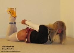 Raquel St.Clair the Slutty Blonde Hogtied Schoolgurl