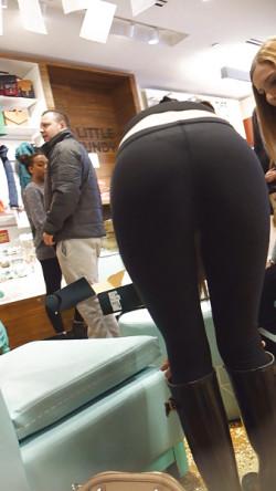Visible Thong Panty Lines in Black Leggings