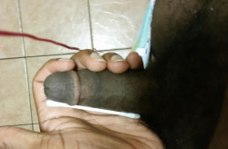Small black cock fails the Q-Tip Challenge with an erection