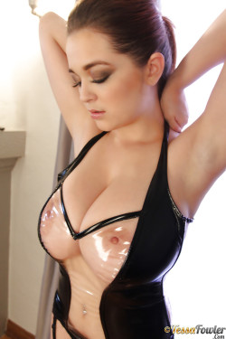 Busty Femdom Wearing See Through Latex
