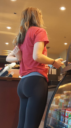 Starbucks Booty in Leggings Spotted in Line