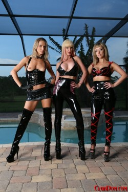Latex Domme Brought Her Friends Along for Fun