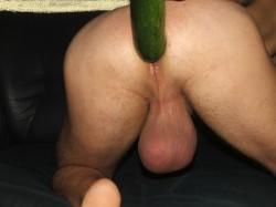Big Bull Balls and zucchini in ass