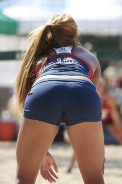 Redhead Volleyball Player Sporting Visible Thong Panty Lines