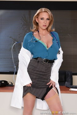 Naughty MILF Nurse with Amazing Cleavage