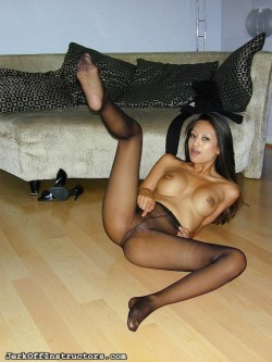 Exotic Pantyhose Pussy and Foot Tease Jerk Off Instructor