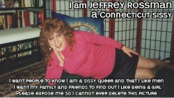 JEFFREY ROSSMAN from CONNECTICUT exposed as a sissy faggot in a short black skirt and pink sweater